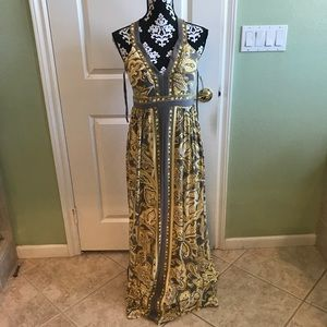 Inc Gray and Yellow maxi dress NWT